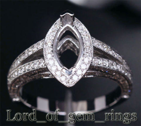 Diamond Engagement Ring Semi Mount 14K White Gold Setting Marquise 5x10mm - Lord of Gem Rings - 1