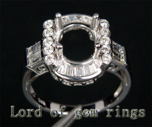 Baguette/Round Diamond Engagement Semi Mount ring 14k White Gold Oval 8x10mm - Lord of Gem Rings - 1