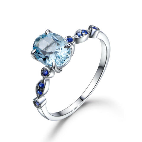 Oval Aquamarine Engagement Ring Pave Sapphires Wedding 14K White Gold Art Deco - Lord of Gem Rings - 1