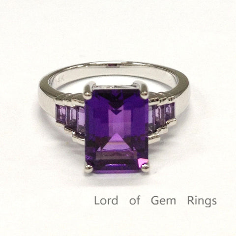 Emerald Cut Amethyst Engagement Ring Baguette Amethyst Wedding 14K White Gold 7x9mm - Lord of Gem Rings - 1