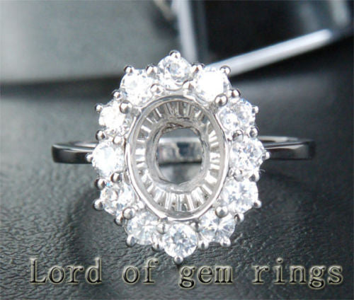 Diamond Engagement Semi Mount Ring 14K White Gold Setting Oval 7x9mm - Lord of Gem Rings - 1