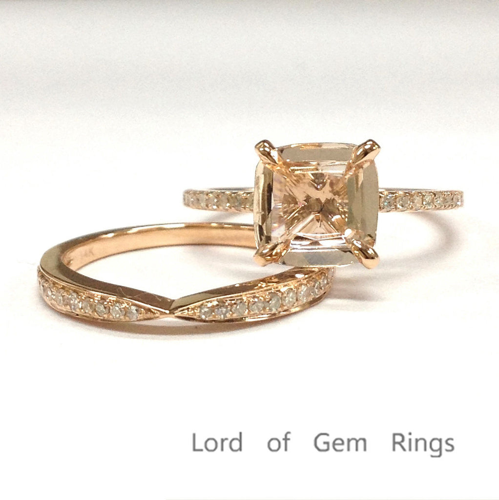 Cushion Morganite Engagement Ring Set Pave Diamond Wedding 14K Rose Gold 8mm - Lord of Gem Rings - 1