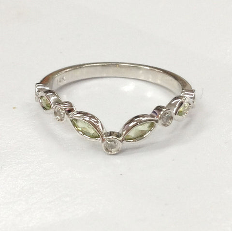 Peridot Diamond Wedding Band Half Eternity Anniversary Ring 14K White Gold Art Deco Curved - Lord of Gem Rings - 1