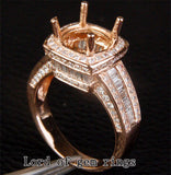 Diamond Engagement Semi Mount Ring 14k Rose gold Setting Round 9mm - Lord of Gem Rings - 1