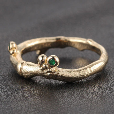 Diamond Emerald Engagement Ring 14K Yellow Gold Hand Crafted Twig Bezel set - Lord of Gem Rings - 1