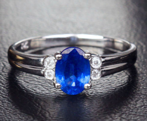 Oval Blue Sapphire Engagement ring diamond Wedding 14k White gold 0.55CT - Lord of Gem Rings - 1