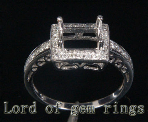 Diamond Engagement Semi Mount Ring 14K White Gold Setting Princess 6x8mm - Lord of Gem Rings - 1