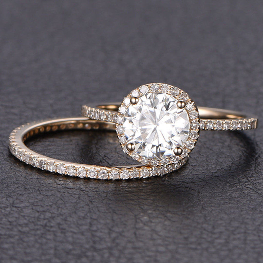 Round Moissanite Engagement Ring Sets Pave Diamond Wedding 14K Rose Gold 6.5mm - Lord of Gem Rings - 1