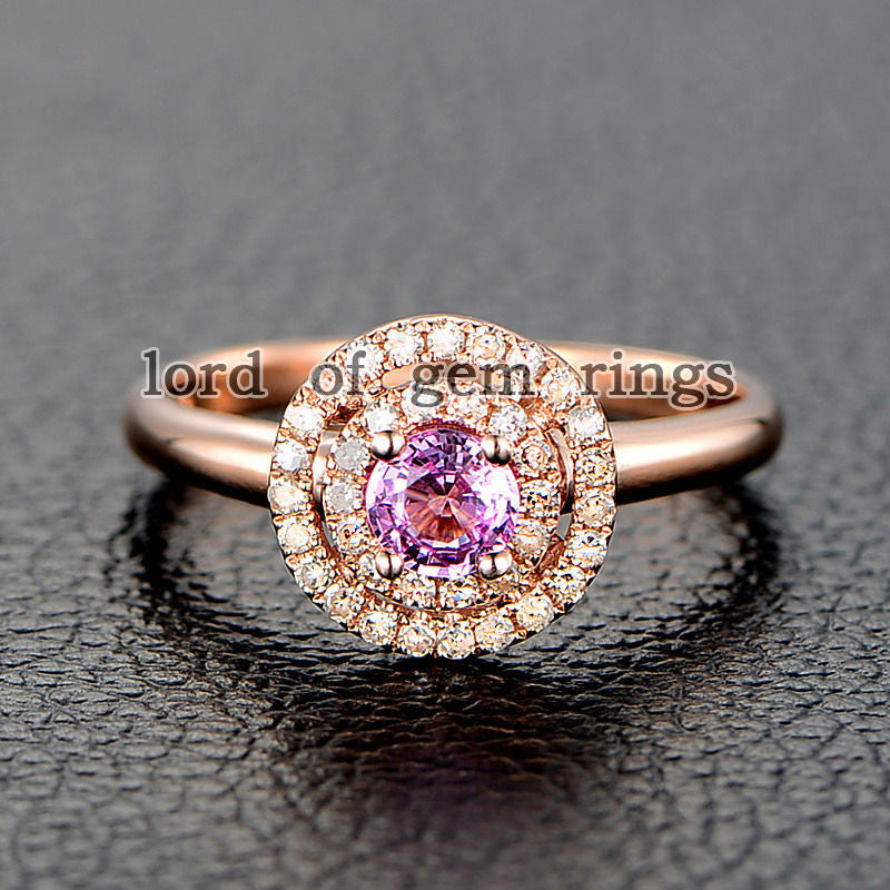 Round Pink Sapphire Engagement Ring Pave VS Diamond Wedding 14K Rose Gold 4mm Double HALO - Lord of Gem Rings - 1