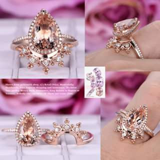 Reserved for orlandotank Pear Morganite Ring Sets diamond Tiara band 14K Rose Gold 8x12mm