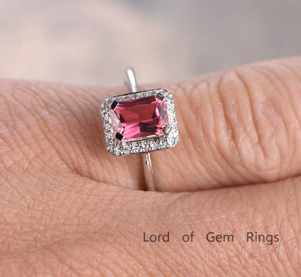 Emerald Cut Pink Tourmaline Engagement Ring Pave Diamond Wedding 14K White Gold 5x7mm - Lord of Gem Rings - 1