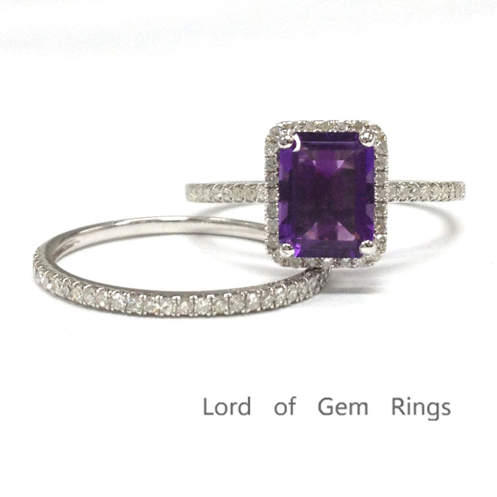 Emerald Cut Purple Amethyst Engagement Ring Sets Pave Diamond Wedding 14K White Gold 6x8mm - Lord of Gem Rings - 1