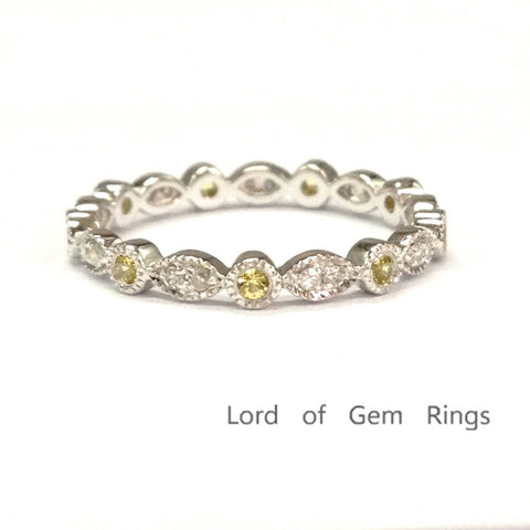 Pave White/Yellow Diamonds Wedding Band Eternity Anniversary Ring 14K White Gold Art Deco - Lord of Gem Rings - 1