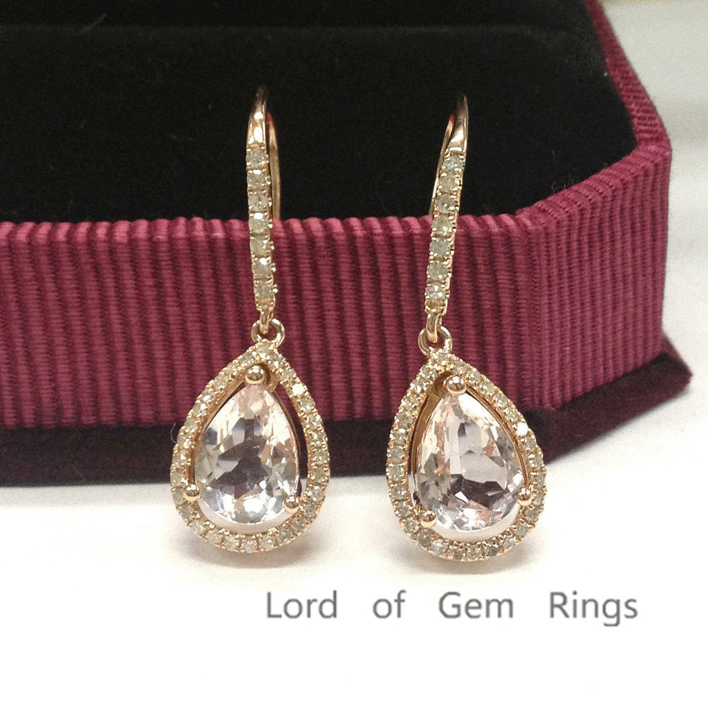 Pear Morganite Earrings Pave Diamond 14K Rose Gold Halo, Hook, 6x8mm - Lord of Gem Rings - 1