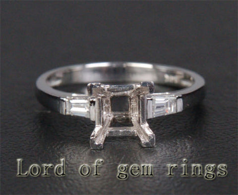 Bagutte VS/H Diamond Engagement Semi Mount Ring 14K White Gold Setting Princess 5-5.5mm - Lord of Gem Rings - 1