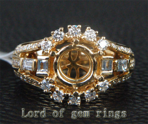VS Diamond Engagement Semi Mount Ring 14K Yellow Gold Setting Round 8mm - Lord of Gem Rings - 1