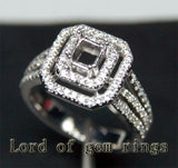 Diamond Engagement Semi Mount Ring 14K White Gold Setting Princess 4.5mm - Lord of Gem Rings - 1
