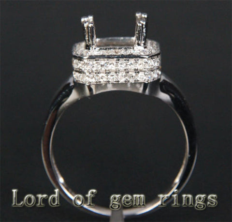 Diamond Engagement Semi Mount Ring 14K White Gold Setting Emerald Cut  5.5x7.5mm - Lord of Gem Rings - 1