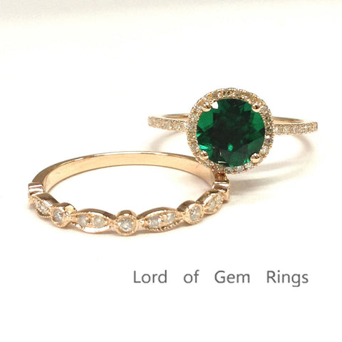 Round Emerald Engagement Ring Sets Pave Diamond Wedding 14k Rose Gold 7mm Art Deco Band - Lord of Gem Rings - 1
