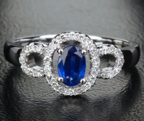 Oval Sapphire Engagement Ring Pave Diamond Wedding 14k White Gold .91ct - Lord of Gem Rings - 1