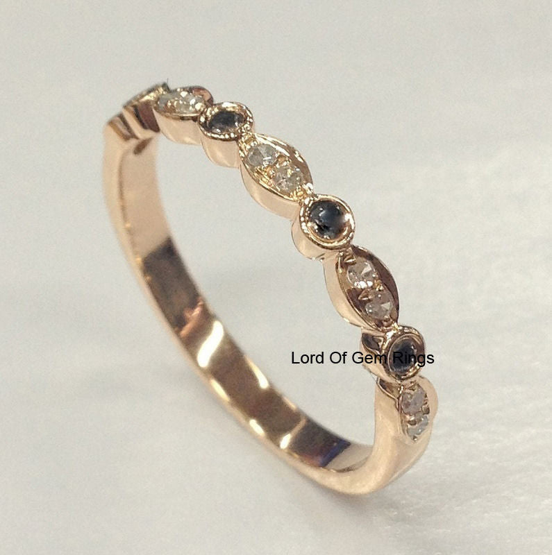 Pave Clear/Black Diamond Wedding Band Half Eternity Anniversary Ring 14K Rose Gold - Lord of Gem Rings