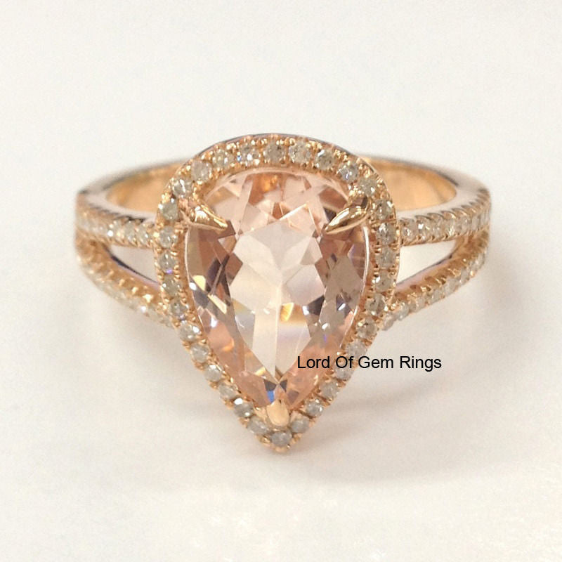 Reserved for Melinda Pear Morganite Engagement Ring  Diamond 14K Rose Gold Size10.5 - Lord of Gem Rings - 1