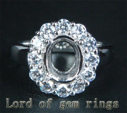 VS Diamond Engagement Semi Mount Ring 14K White Gold Setting Oval 7x9mm - Lord of Gem Rings - 1