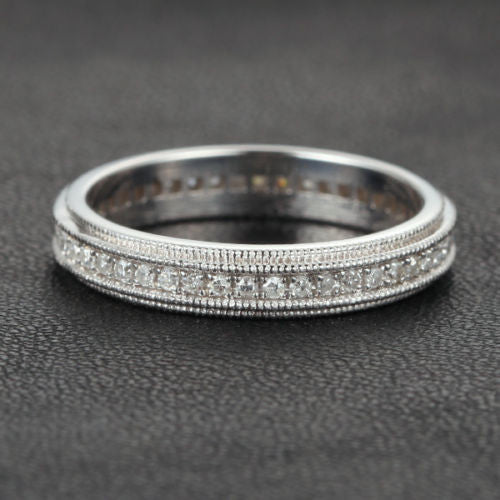 Diamond Wedding Band Eternity Anniversary Ring 14K White Gold Art Deco Double Milgrain - Lord of Gem Rings - 1