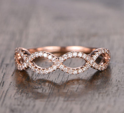 Pave Diamond Wedding Band Half Eternity Anniversary Ring 14K Rose Gold Floral Curved - Lord of Gem Rings - 1