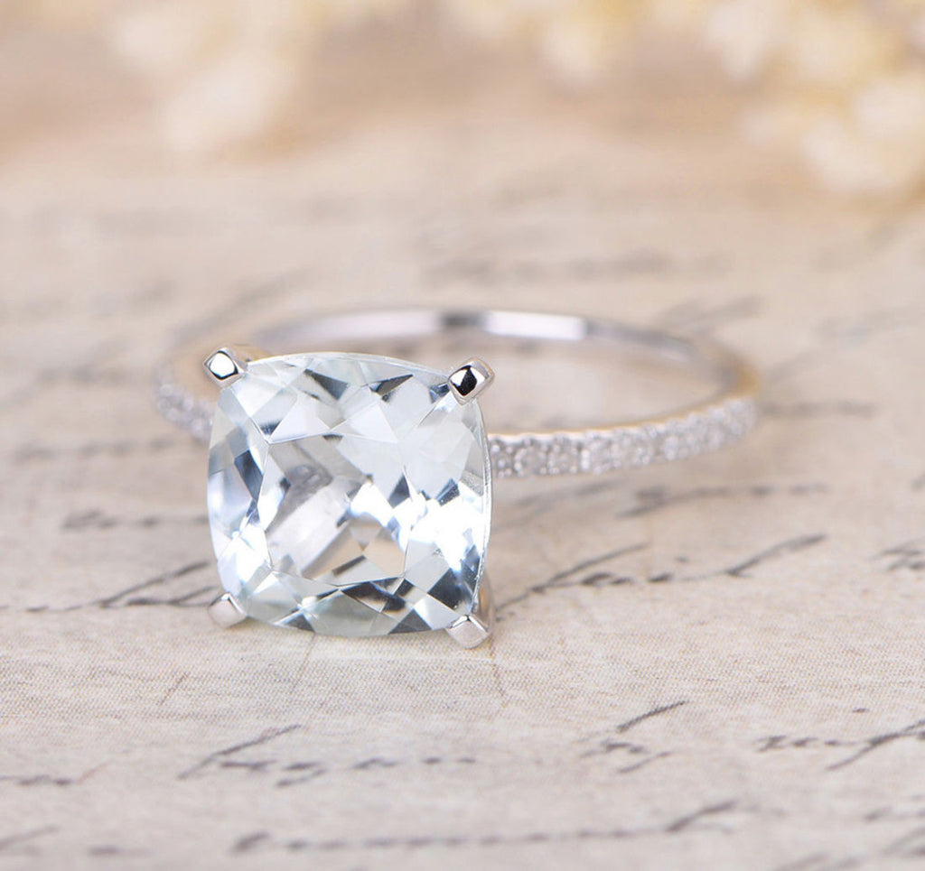 Cushion Blue Aquamarine Engagement Ring Pave Diamond Wedding 14K White Gold 8mm - Lord of Gem Rings - 2