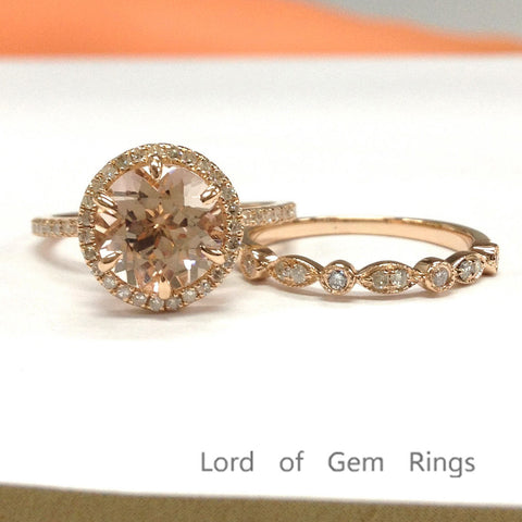 Round Morganite Engagement Ring Sets Pave Diamond Wedding 14K Rose Gold 8mm Art Deco Band - Lord of Gem Rings - 1