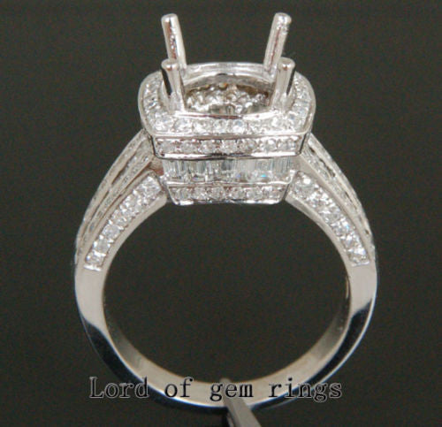 VS Baguette Diamond Engagement Semi Mount Ring 14K White Gold Setting Round 9mm - Lord of Gem Rings - 1