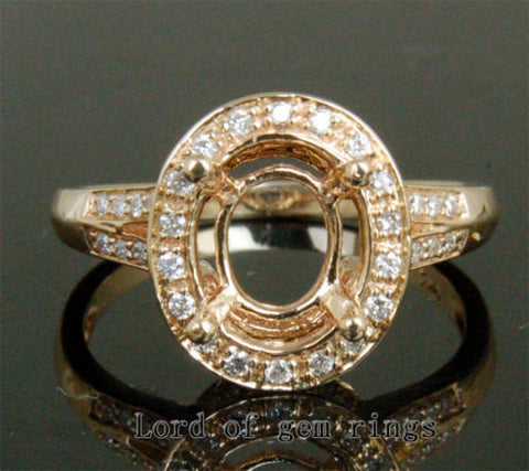 Diamond Engagement Semi Mount Ring 14K Yellow Gold Setting Oval 8x10mm - Lord of Gem Rings - 1