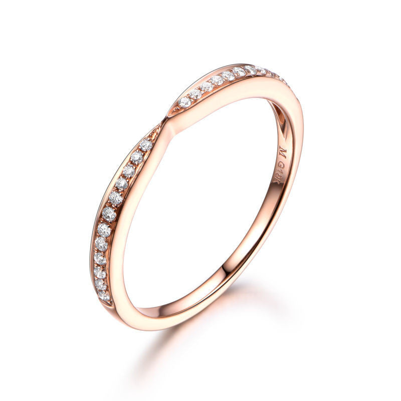 Pave Diamond Wedding Band Half Eternity Anniversary Ring 18K Rose Gold Symmetrical - Lord of Gem Rings - 1