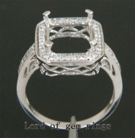 Diamond Engagement Semi Mount Ring 14K White Gold Setting Emerald Cut 9x11mm - Lord of Gem Rings - 1