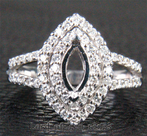 Diamond Engagement Semi Mount 14K White Gold Setting Marquise 4x8mm - Lord of Gem Rings - 1