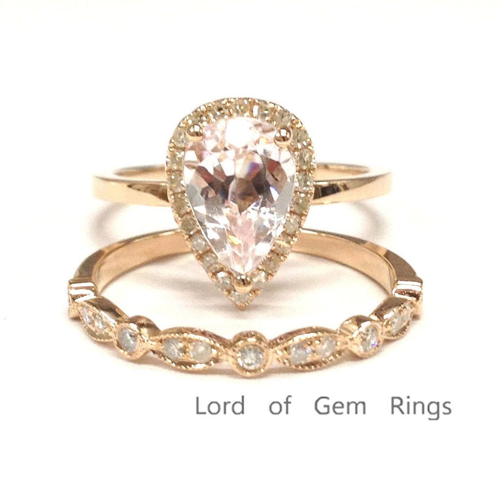 Pear Morganite Engagement Ring Sets Pave Diamond Wedding 14K Rose Gold 6x9mm - Lord of Gem Rings - 1
