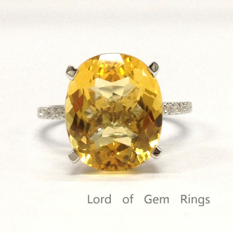 Oval Citrine Engagement Ring Pave Diamond Wedding 14K White Gold 10x12mm - Lord of Gem Rings - 1