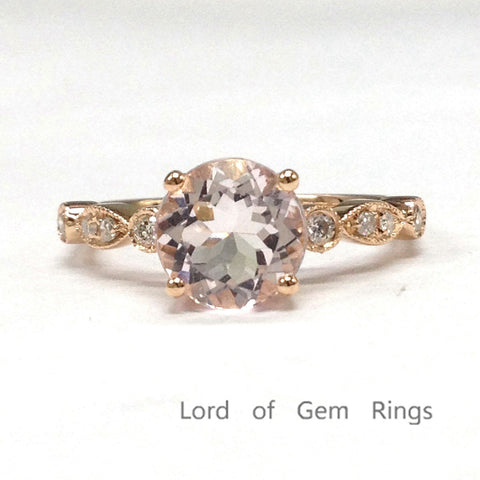 Round Morganite Engagement Ring Pave Diamond Wedding 14K Rose Gold 6.5mm Antique Art Deco - Lord of Gem Rings - 1