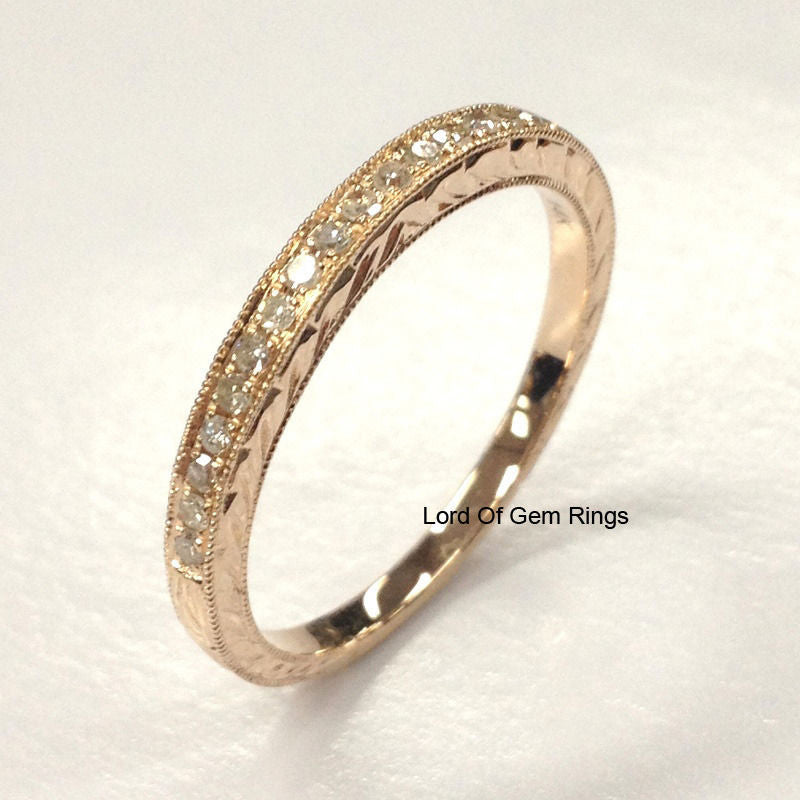 Pave Diamond Wedding Band Half Eternity Anniversary Ring 14K Rose Gold Filigree - Lord of Gem Rings - 1