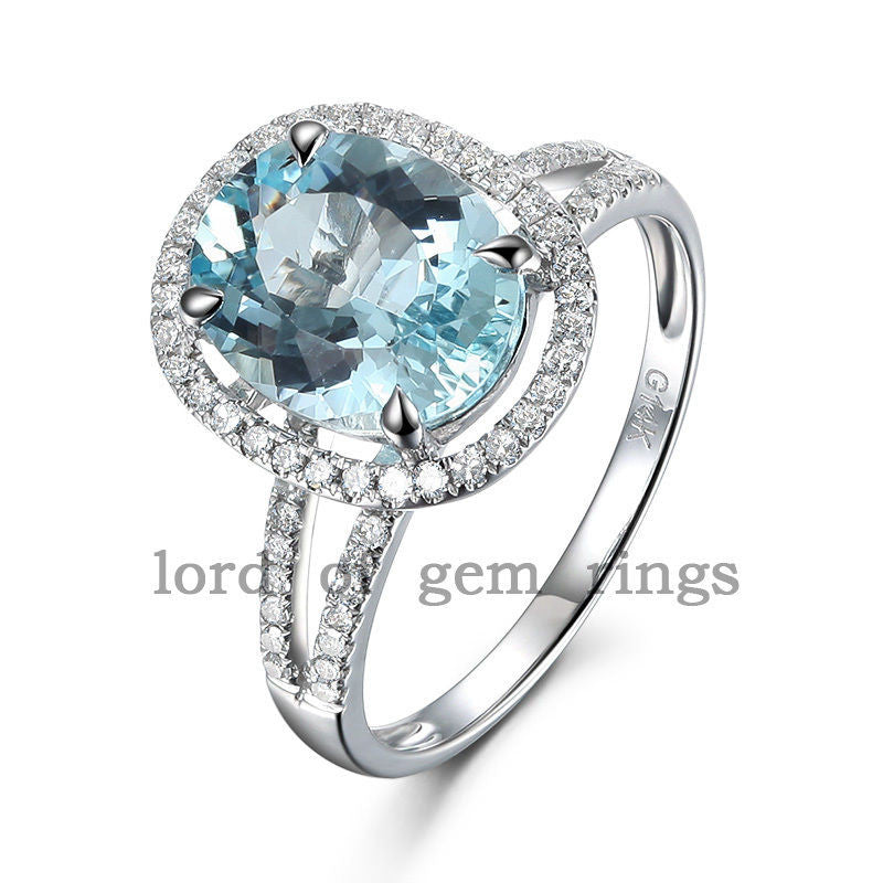 Oval Aquamarine Engagement Ring Pave Diamond Wedding 14K White Gold,8x10mm Split Shank CLAW PRONGS - Lord of Gem Rings - 1