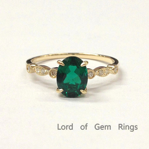 Oval Emerald Engagement Ring Pave  Diamond Wedding 14K Yellow Gold 6x8mm  Art Deco - Lord of Gem Rings - 1
