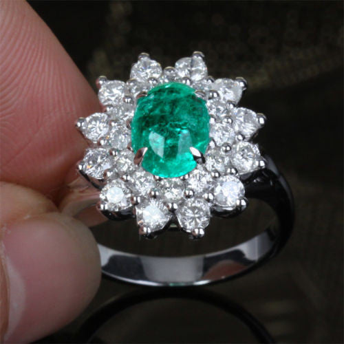 Oval Emerald Engagement Ring Diamond Wedding 14k White Gold Flower - Lord of Gem Rings - 1