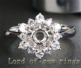 Flower 4.5mm Round Cut .62ct Diamond 14K White Gold Engagement Semi Mount Ring - Lord of Gem Rings - 1