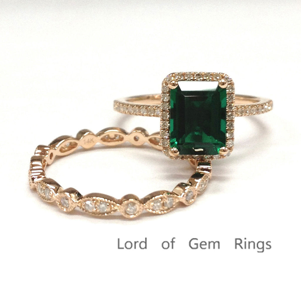 Emerald Shape Engagement Ring Sets Full Eternity Diamond Band 14K Rose Gold 6x8mm - Lord of Gem Rings - 1