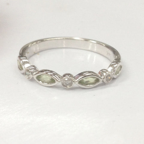 Marquise Peridot Diamond Wedding Band Half Eternity Anniversary Ring 14K White Gold - Lord of Gem Rings - 1