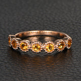 Citrine Wedding Band Half Eternity Anniversary Ring  14K Rose Gold 3mm Round - Lord of Gem Rings - 1