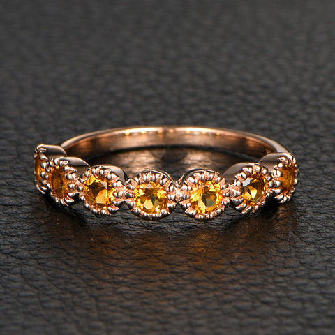 wedding gem of band collections half anniversary large eternity gold round garnet citrine rings lord ring rose