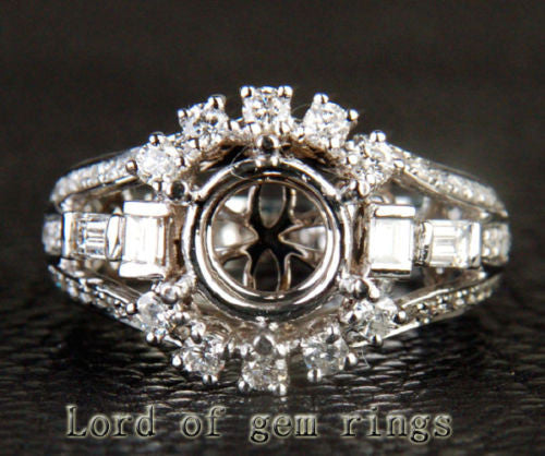 Unique 8mm Round Cut 14K White Gold 1.05CT Diamond Semi Mount Ring Setting 6.34g - Lord of Gem Rings - 1