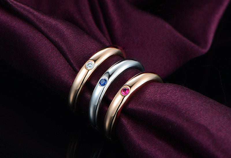 Diamond,Sapphire,Tourmaline Wedding Band Trio Sets Anniversary Ring 18K Rose Gold - Lord of Gem Rings - 1
